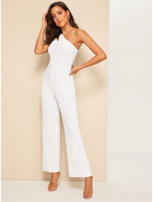 Shein Double Strappy One Shoulder Wide Leg Jumpsuit