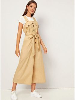 Buttoned Front Self Belted Wide Leg Jumpsuit
