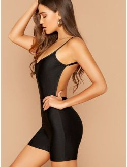 Open Back Fitted Cami Jumpsuit Without Belt