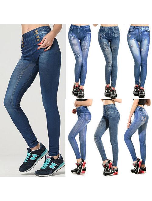 Women Leggings Slim Jeggings Skinny Stretchy Pant Trouser Mid Waist Pencil Pant