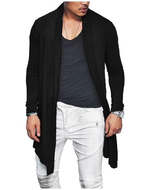 LY-VV Mens Ruffle Shawl Collar Long Cardigan Open Front Drape Cape Overcoat