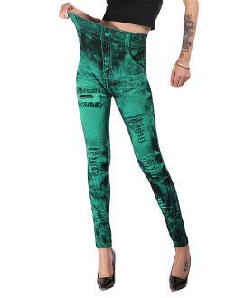 Jeggings for Women Denim Print Seamless High Waisted Elastic Leggings Skinny Distressed Pants