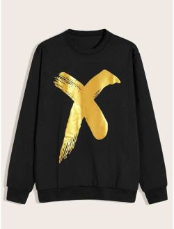 Men Metallic Brush Print Sweatshirt