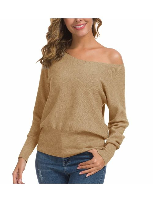 Feiersi Women's Off Shoulder Sweater Long Sleeve Loose Pullover Knit Jumper