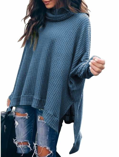 ANRABESS Women Turtlenck Batwing Sleeve High Low Hem Side Slit Waffle Knit Casual Loose Oversized Pullover Sweater Tunic Tops