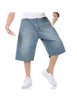 Men's Shorts Jeans Relaxed Fit Denim Shorts Baggy Simple Plain Blue Light Wash Plus Size 30W-46W 13L