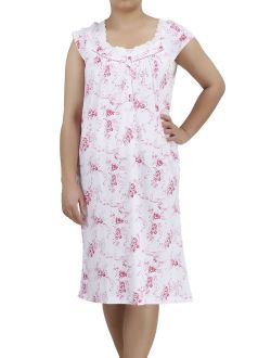 Women's and Women's Plus Cotton Short Sleeve Darling Nightgown by EZI