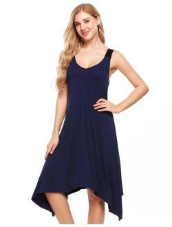 Womens Sleeveless Pajamas Solid V Neck Nightgown Sleepwear Asymmetrical Mini Dress RllYE