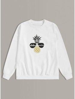 Men Pineapple Print Round Neck Sweatshirt