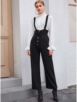 Solid Button Front Belted Overall Jumpsuit