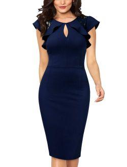 Women's Formal Work Pencil Dresses,Cocktail Party Bodycon Dresses(Navy Blue,L)