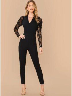 Zip Back Sheer Lace Gigot Sleeve Jumpsuit