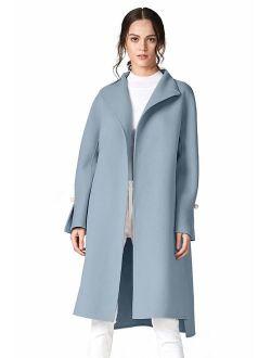 ANNA&CHRIS Women Long Wool Trench Coat Winter Oversize Handmade Lapel Cardigan Overcoat