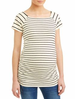 Oh! Mamma Maternity stripe square neck side ruched knit top - available in plus sizes
