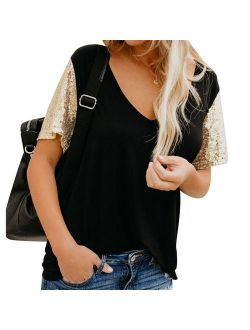 Womens Tshirts Short Sleeve - V-neck Tops Short Sequins Sleeve Blouses Lady Basic Tee Tops Casual Top Outwear