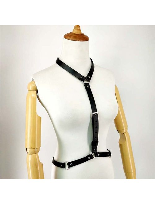 Women's Punk Waist Belt Body Chain Faux Leather Harness Adjustable with Buckles and O-Rings(LB-25)