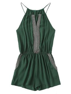 Women's Casual Embroidered Tape Detail Cami Romper Jumpsuit With Pockets