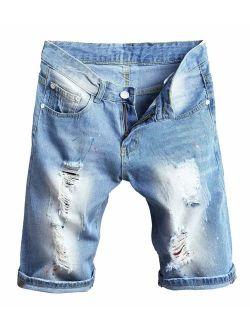 Betusline Men's Ripped Denim Shorts