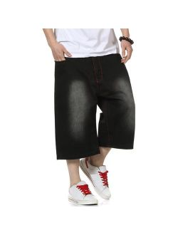 PY-BIGG Plus Size Men's Shorts Jeans Relaxed Fit Hip Hop Denim Shorts Work Short Stone Washed Black 30W-46W 13L