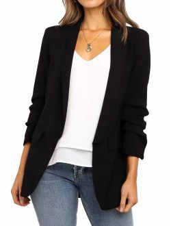 POGTMM Women's Casual Work Office Blazers Open Front Cardigan Long Sleeve Blazer Jackets Suit with Pockets