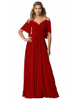 KKarine Women's Cold Shoulder Ruffled Prom Bridesmaid Dress Long Evening Gown