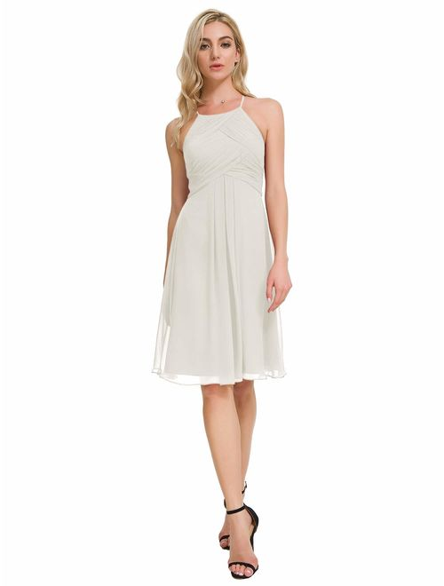Alicepub Chiffon Bridesmaid Dresses Halter Cocktail Dress Short Homecoming Party Dresses