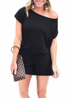 Women's Summer Casual Off Shoulder Short Sleeve Shorts Loose Jumpsuit Rompers With Pockets