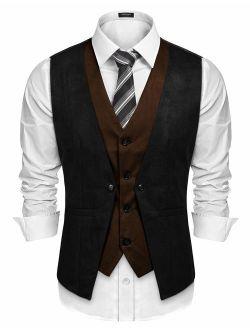Men's Suede Leather Vest Layered Style Dress Vest Waistcoat
