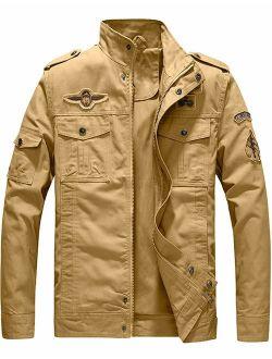 YXP Men's Military Jacket Casual Lightweight Cotton Windbreaker Field Jacket