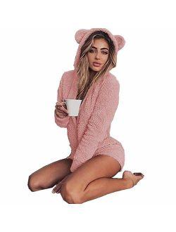 Missfamo Ladies Cute Long Sleeve Sleepwear Fleece Hooded Cozy Sherpa Romper Fluffy Pajamas Short