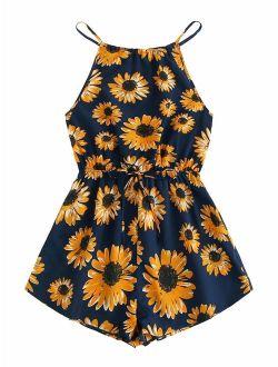 Women's Tropical Floral Tie Back Belted Halter Romper Boho Sleeveless Playsuit Summer Jumpsuit Casual Jumper