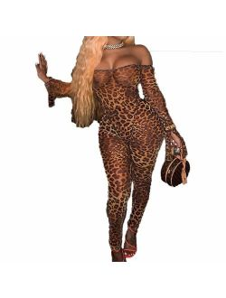 IyMoo Sexy Bodycon Club Jumpsuits for Women - Off Shoulder Printed Mesh Sheer Trumpet Long Sleeve Party Long Romper Catsuit
