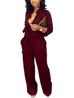 Yiershu Women's Sexy V Neck Jumpsuits Elegant Long Sleeve Button Down Straight Long Pants Business Romper with Pockets Belt