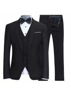YFFUSHI Men's Slim Fit 3 Piece Suit One Button Blazer Tux Vest & Trousers