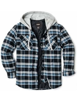 Men's Hooded Quilted Lined Long Sleeve Shirt Jacket