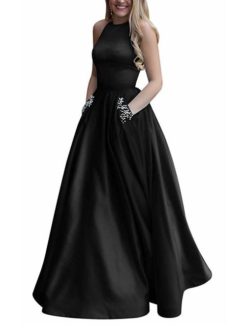 Long Halter Prom Dresses with Pockets Beaded A-line Satin Ball Gown for Women Formal Evening
