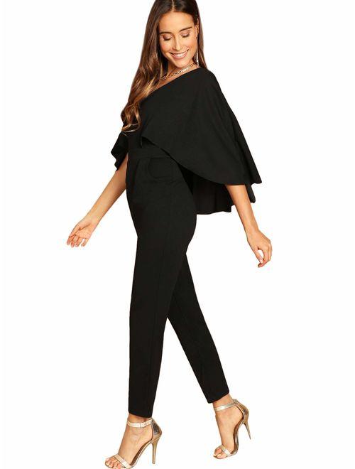 ROMWE Women's V-Neck Solid Cape High Waist Long Pants Jumpsuit