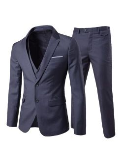 Men's 3-piece 2 Buttons Slim Fit Solid Color Jacket Smart Wedding Formal Suit