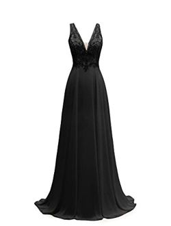 MARSEN V-Neck Prom Dresses Lace Chiffon A-line Beaded Long Bridesmaid Formal Gowns for Women