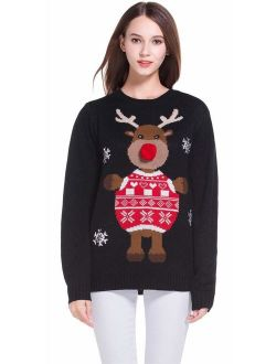 daisysboutique Women's Christmas Cute Reindeer Knitted Sweater Girl Pullover