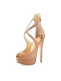 FSJ Women Gorgeous Peep Toe Platform Pumps Cross Strap High Heels Sandals Party Shoes Size 4-15 US