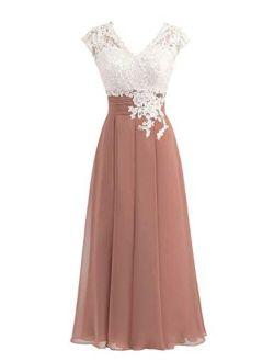 Libaosha Women's Lace Top Button Bridesmaid Dress With Cap Mother Of The Bride Dress