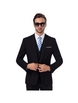 MY'S Men's 3 Piece Slim Fit Suit, One Button Jacket Blazer Vest Pants Set and Tie