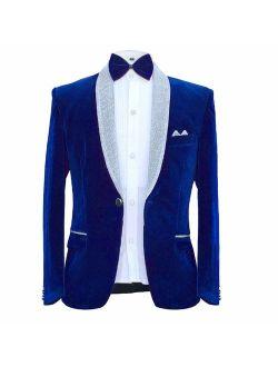 MAGE MALE Men's 2 Piece Suit Peaked Lapel One Button Tuxedo Slim Fit Velvet Blazer Party Dinner Jacket & Pants