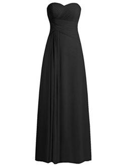 JAEDEN Bridesmaid Dress Prom Dresses Long Sweetheart Chiffon Evening Gown Pleat Strapless