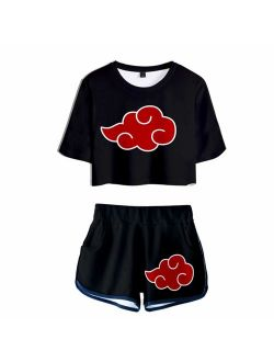 2 PieceUchiha Outfits for Women Short Sleeve Crop Top and Short Pants Sets