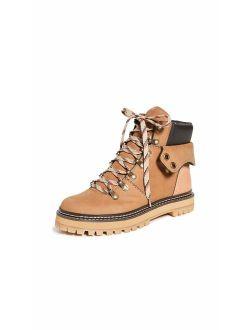 See by Chloe Women's Eileen Flat Boots, Tortora/Natural, Brown, Tan, 11 Medium US