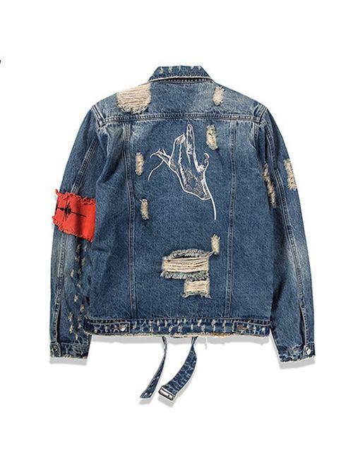 iooho Men's Denim Jacket Ripped Distressed Jeans Jacket Rugged Trucker Jacket for Man