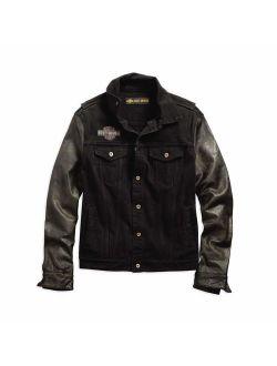 Harley-Davidson Men's Leather Sleeve Slim Fit Denim Jacket, Black