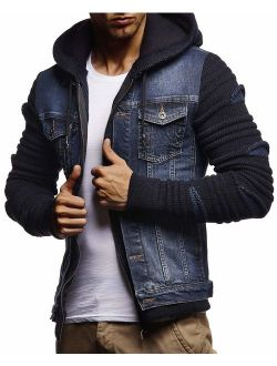 Men's Denim Jacket With Knitted Sleeves | Jeans Jacket With Hood | Stylish Jeans Sweater Hoodie Ln5755
